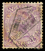Lot 1676:Lourenco Marques: hexagonal arrival on 2d violet 'POSTAGE', some toning.