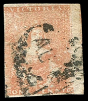 Lot 10011:1854-57 Half-Length Campbell & Ferguson SG #27a 1d dull rose-red, 3-margins (4th just shaved), small surface abrasions, Cat £80.