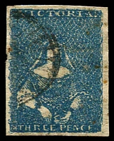 Lot 9697:1854-57 Half-Length Campbell & Ferguson SG #31c 3d deep blue [14], 4-margins, small creases and nicks, Cat £48.