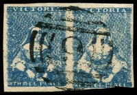 Lot 9695:1854-57 Half-Length Campbell & Ferguson SG #30a 3d milky blue pair [21,22], 3½-margins, scissor cut in base of right unit, BN '9' of Beechworth, Cat £300+.
