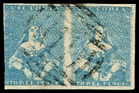 Lot 9693:1854-57 Half-Length Campbell & Ferguson SG #29 3d bright blue pair [13,14], 3-margins (4th just shaved), BN '11' of Williamstown, Cat £140+.