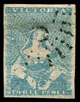 Lot 9694:1854-57 Half-Length Campbell & Ferguson SG #29 3d bright blue [15], 4-margins, thinned, Cat £70.