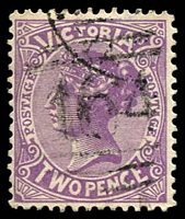 Lot 12111:164: type 1BR on 2d violet Postage. [Rated R]  Allocated to Mount Pleasant-PO 1/1/1858; RO c.1902; PO c.1904, provisionally closed 11/9/1981; closed 31/10/1983.
