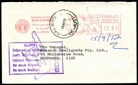 Lot 13970:Balwyn (2): - WWW #90B 'BALWYN    /15SE72/VIC-AUST' (E.8 removed - arcs 7,8) on face of unclaimed cover from Melbourne.  PO 12/7/1920; closed 18/2/2011.