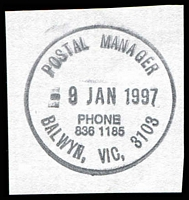 Lot 12052:Balwyn (2): - WWW #502B 'POSTAL MANAGER/9JAN1997/PHONE/836 1185/BALWYN, VIC. 3108' (9DL) on piece. [Only recorded date]  PO 12/7/1920; closed 18/2/2011.