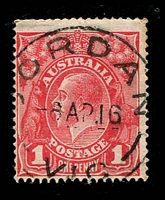 Lot 2520:Jordan: - WWW #10, 'JORDAN/6AP16/VIC' (ERD) on 1d red KGV. [Quite rare]  PO 1/12/1862; RO 15/10/1917; PO 1/7/1927; TO 30/11/1930; closed c.1937.