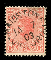 Lot 2577:Maidstone (1): WWW #10, oval 'MAIDSTONE/JA7/03/VICTORIA', on 1d pink. [Late use of an 1860s oval datestamp.]  PO 1/10/1858; closed c.1919.