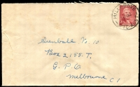 Lot 2601:Millgrove: - WWW #20A 'MILLGROVE/1OC47/VIC-AUST' on 2½d Sutherland on cover.  PO 7/11/1906; closed 7/10/1994.