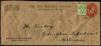 Lot 16486:Minmindie: - WWW #20 'MINMINDIE/2DE53/VIC' on long OHMS Vic Education Dept envelope with 2d red 'OS' KGV Oval (BW #EO19 - creased) uprated with 2d green QEII.  PO 7/2/1887; closed 30/6/1967.