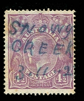 Lot 2693:Snowy Creek: mss 'SNOWY/CREEK/3.11.27' in blue ink on 4½d violet KGV. The first seen by us.  PO 1/1/1859; closed 31/10/1941.