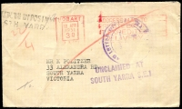 Lot 17372 [2 of 2]:South Yarra (2): - WWW #380 violet 46½x40mm boxed 'POST OFFICE/24APR1951/SOUTH YARRA NO. 1.' (LRD) backstamp on cover from Hobart, 'UNCLAIMED AT/SOUTH YARRA S.E.1' and '[UN]KNOWN BY POSTMEN/STH YARR[A]' both on face. [Rated 4P]  PO 21/6/1858.