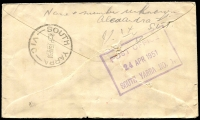 Lot 16849:South Yarra (2): - WWW #380 violet 46½x40mm boxed 'POST OFFICE/24APR1951/SOUTH YARRA NO. 1.' (LRD) backstamp on cover from Hobart, 'UNCLAIMED AT/SOUTH YARRA S.E.1' and '[UN]KNOWN BY POSTMEN/STH YARR[A]' both on face. [Rated 4P]  PO 21/6/1858.