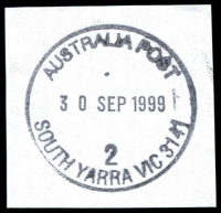 Lot 16826:South Yarra (2): - WWW #480 30½mm 'AUSTRALIA POST/30SEP1999/2/SOUTH YARRA VIC 3141' on piece. [Only recorded date]  PO 21/6/1858.