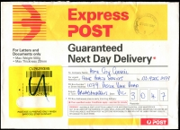 Lot 14788 [1 of 2]:South Yarra (2): - WWW #570 30½mm 'AUSTRALIA POST/23DEC1997/6/SOUTH YARRA VIC 3141' on Express Post cover. [The only recorded date.]  PO 21/6/1858.