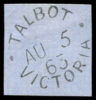 Lot 16819:Talbot: - WWW #5 20mm unframed 'TALBOT/AU5/63/VICTORIA' on piece.  Renamed from Back Creek PO 14/2/1862; LPO 10/6/1994.
