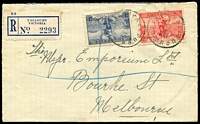 Lot 2920 [1 of 2]:Yallourn (2): WWW #20 27½mm 'YALLOURN/6JE36/VIC' (arcs 1½,2) on 2d & 3d Cable on cover with blue registration label  Renamed from Western Camp PO 8/10/1923; closed 31/1/1980.