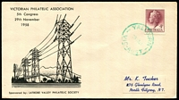 Lot 2922:Yallourn (2): - WWW #30A green 'YALLOURN/29NO58/VIC-AUST' (arcs 4,4) on 4d claret QEII on illustrated 5th VPA Congress cover, addressed.  Renamed from Western Camp PO 8/10/1923; closed 31/1/1980.