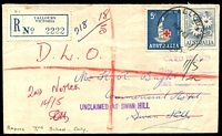 Lot 2926 [1 of 2]:Yallourn (2): WWW #50A, 'YALLOURN/10MY63/VIC-AUST' (arcs 6,6½) on 2/- & 5d on unclaimed cover to Swan Hill, violet straight-line 'UNCLAIMED AT SWAN HILL' (A1) on face, blue registration label  Renamed from Western Camp PO 8/10/1923; closed 31/1/1980.