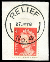 Lot 16152:Yallourn North: - 'RELIEF/27JY78/No.4' on 4c QEII. [Used 23/01/77 - 3/01/79]  Renamed from Brown Coal Mine PO 1/8/1947; LPO 16/8/1993.