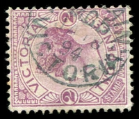 Lot 3388:T.P.O. 5: 2nd period 22mm blue '[UP TR]AIN/M.G.5/JA18/94/VICTORIA' WWW #10B on 2d violet.  PO 18/4/1872; closed c.1904