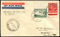 Lot 1128 [1 of 2]:1930 Sydney-Brisbane AAMC #148 ANA flight 3d & 2d cancelled with 'SYDNEY/5-P-2JA30/17' the 2nd flight!