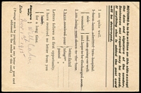 Lot 828 [2 of 2]:1915 stampless Field Service Post Card with 'ARMY POST OFFI[C]