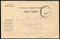 Lot 828 [1 of 2]:1915 stampless Field Service Post Card with 'ARMY POST OFFI[C]