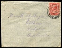 Lot 5397:1917 (Oct 8) use of GB 1d red cancelled with 'AIF CAMP [P.O.]