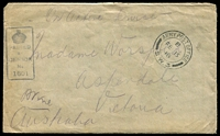 Lot 833:1918 stampless OAS cover with double-circle 'ARMY POST OFFICE/B/FE15/18/S.W.3' (A1 - France) to Victoria, boxed '1601' censor on face.
