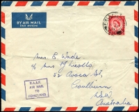 Lot 5465:1954 (Sep 11) in wards RAAF concession airmail from Malta, GB 2½d red QEII cancelled with double-circle 'FIELD POST OFFICE/11SP/54/266' (Luqa), boxed 'R.A.A.F./AIR MAIL/TO/HOMELAND' on face. Rare.