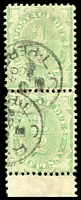 Lot 937:1902-04 Design Completed Wmk Crown/NSW BW #D13A ½d emerald marginal pair, P11½-12x11, Cat $30.