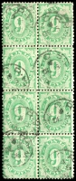 Lot 657:1902-04 Design Completed Wmk Crown/NSW BW #D32 6d emerald block of 8 P11½-12x11 wmk inverted, Cat $200+.