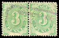 Lot 933:1902 Converted NSW Plates BW #D7a 3d Emerald Wmk Upright pair, Cat $80.
