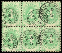 Lot 934:1902 Converted NSW Plates BW #D8d 4d emerald block of 6 wmk upright with Diagonal white scratch through lower left spandrel in 2 left units, Cat $300+.