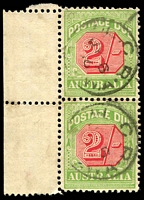 Lot 3799:1909-10 Wmk Crown/Double Lined A Thick Paper BW #D89 2/- rose-red & green marginal pair, Cat $100+.