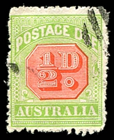 Lot 3803:1913-21 Wmk Crown/Double Lined A Thin Paper BW #D93a ½d scarlet & pale green P12.4 Wmk inverted, Cat $175, bars cancel, rough perfs.
