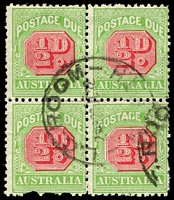 Lot 3806:1913-21 Wmk Crown/Double Lined A Thin Paper BW #D94a ½d rose-red & green Wmk upright P11 block of 4, one unit faulty, Cat $60.
