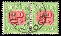 Lot 3805:1913-21 Wmk Crown/Double Lined A Thin Paper BW #D94 ½d rose-red & green wmk sideways P11 pair, Cat $16.