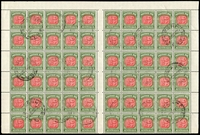 Lot 4094 [1 of 2]:1958-63 No Wmk BW #D144c complete sheet of 120 (half sheet x2) with full margins, cancelled 22JL60, full unmounted gum, Cat $720+ extrapolated as 24 strips of 5.