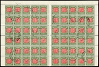 Lot 4095 [2 of 2]:1958-63 No Wmk BW #D144c complete sheet of 120 (half sheet x2) with full margins, cancelled 22JL60, full unmounted gum, Cat $720+ extrapolated as 24 strips of 5.