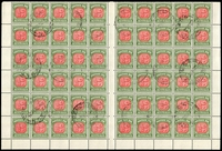 Lot 4095 [1 of 2]:1958-63 No Wmk BW #D144c complete sheet of 120 (half sheet x2) with full margins, cancelled 22JL60, full unmounted gum, Cat $720+ extrapolated as 24 strips of 5.