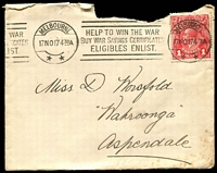Lot 788:1917 (Nov 17) use of 1d red smooth paper on cover (opened at top roughly) from Melbourne to Aspendale, very fine 'HELP TO WIN THE WAR/BUY WAR SAVINGS CERTIFICATES/ELIBIBLES ENLIST' slogan cancel.