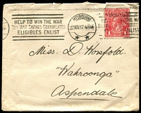 Lot 790:1917 (Nov 22) use of 1d red smooth paper on cover from Melbourne to Aspendale, very fine 'HELP TO WIN THE WAR/BUY WAR SAVINGS CERTIFICATES/ELIBIBLES ENLIST' slogan cancel.