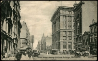 Lot 4559 [2 of 2]:1918 (Aug 8) use of ½d green & 1d red on Valentine PPC of 'Collins Street showing Equitable Buildings, Melbourne.', from Melbourne to Holland, unframed 'PASSED BY CENSOR/[3]rd Military Dist