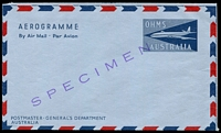 Lot 702:1959-67 OHMS Jet Design BW #A03wa diagonal 'SPECIMEN' in violet, Cat $50.