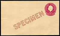 Lot 678:1956-57 4d Plum QEII Large Die BW #EP55w diagonal 'SPECIMEN' in deep red, Cat $150