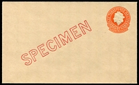 Lot 679:1957 3½d Orange QEII Small Die BW #EP56w diagonal 'SPECIMEN' in red, Cat $150