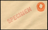 Lot 3774:1957 3½d Orange QEII Small Die BW #EP56w diagonal 'SPECIMEN' in red, Cat $150