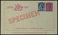 Lot 666:1959 5d on 4d Claret QEII BW #L83w diagonal 'SPECIMEN' in red, Cat $150