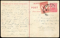 Lot 661:1911 1d Red KGV Fullface Victorian Scenes BW #P21(7), 1d red setting 1 with scene of Swanston St Melb (tram in foreground), from Melbourne to England, unusually uprated with 1d Roo to pay Late Fee, Cat $75.